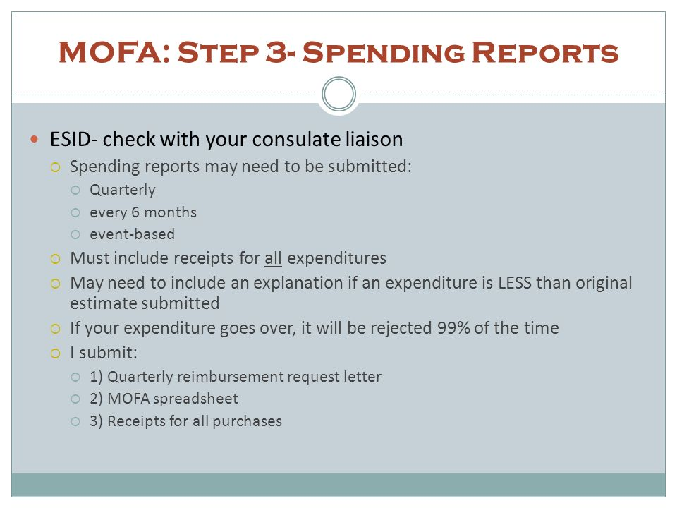 MOFA: Step 3- Spending Reports