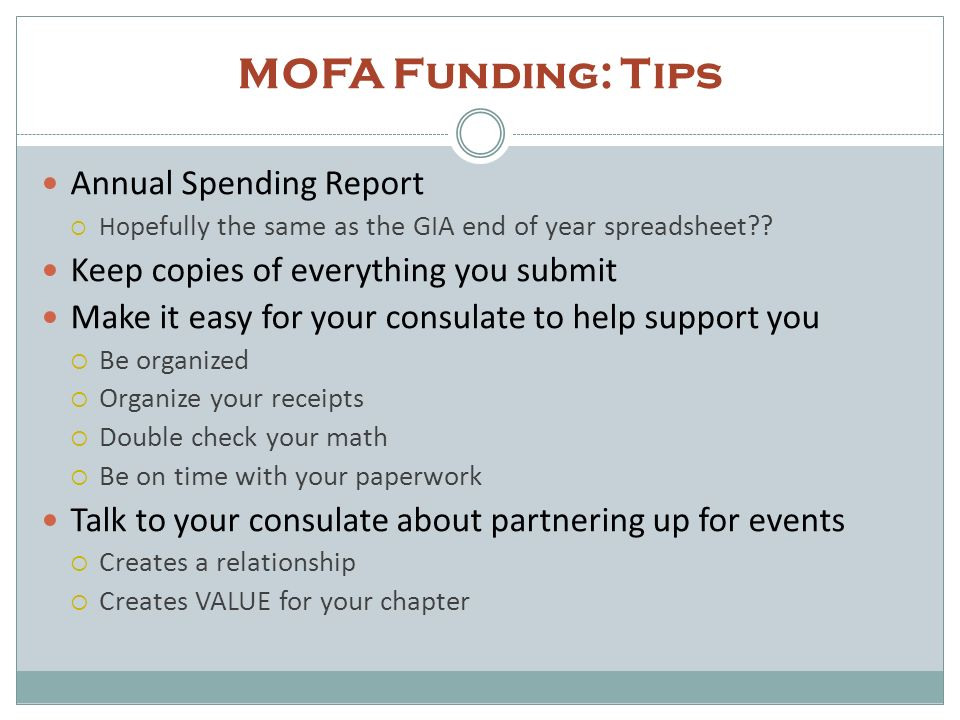MOFA Funding: Tips Annual Spending Report