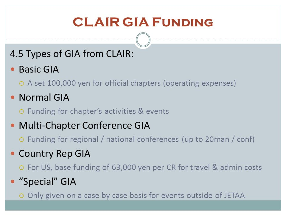 CLAIR GIA Funding 4.5 Types of GIA from CLAIR: Basic GIA Normal GIA