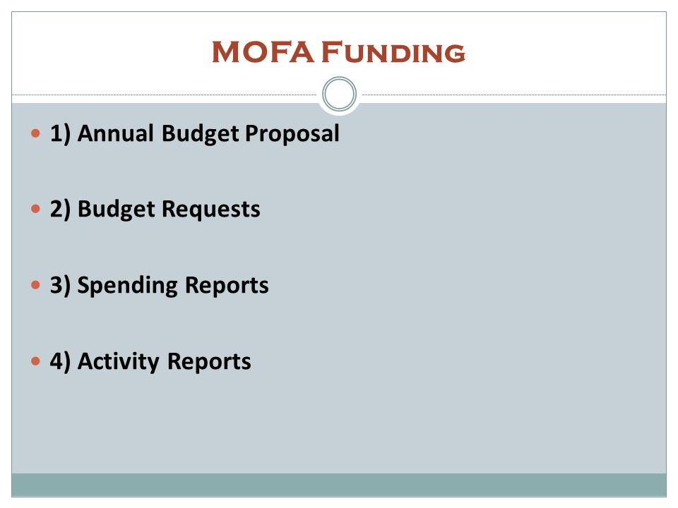 MOFA Funding 1) Annual Budget Proposal 2) Budget Requests