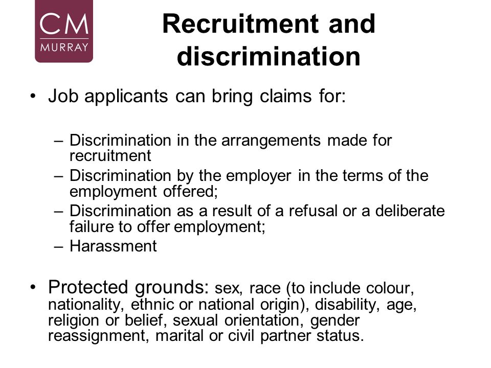 Recruitment and discrimination