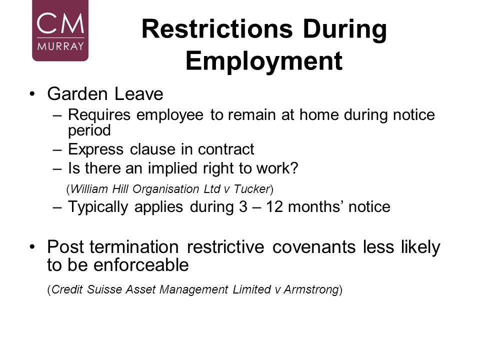 Restrictions During Employment