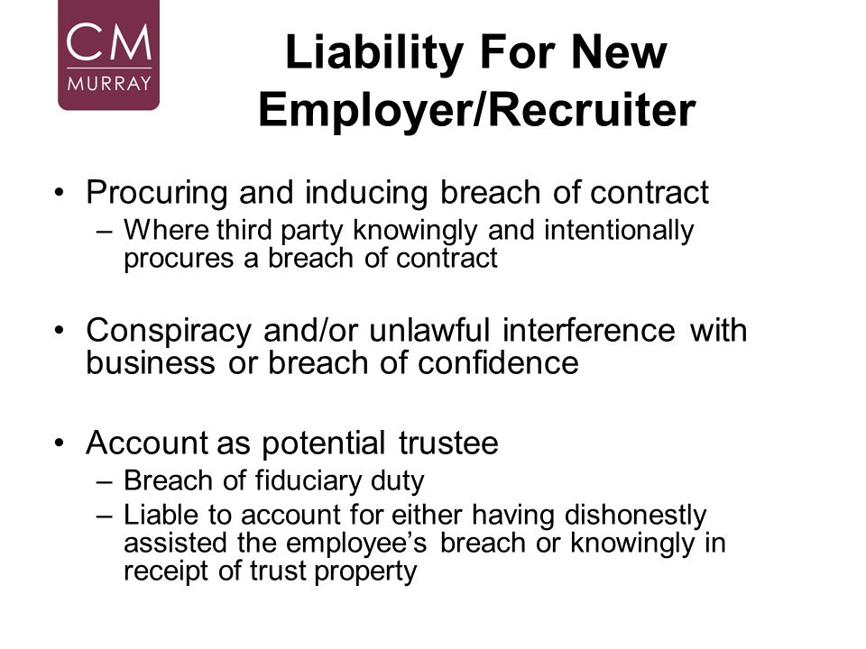 Liability For New Employer/Recruiter