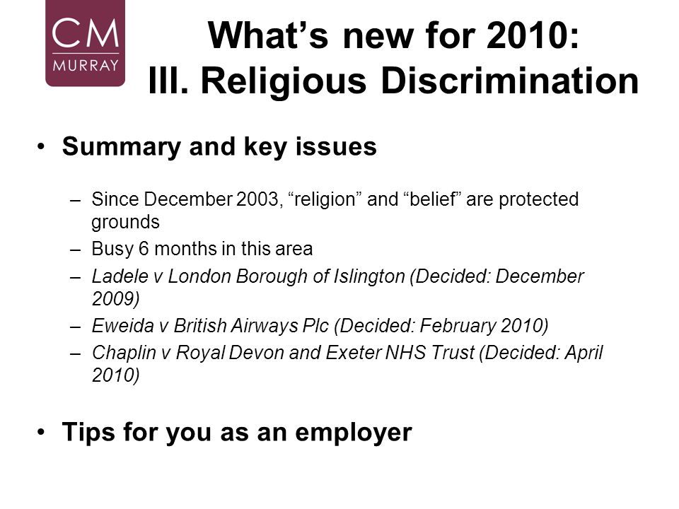 What's new for 2010: III. Religious Discrimination