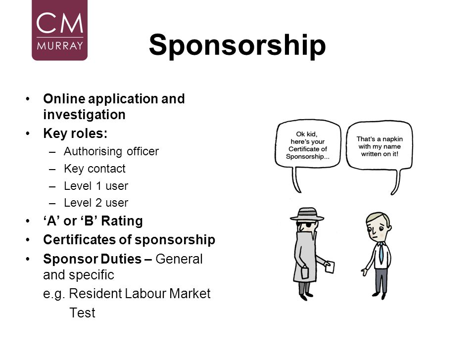 Sponsorship Online application and investigation Key roles: