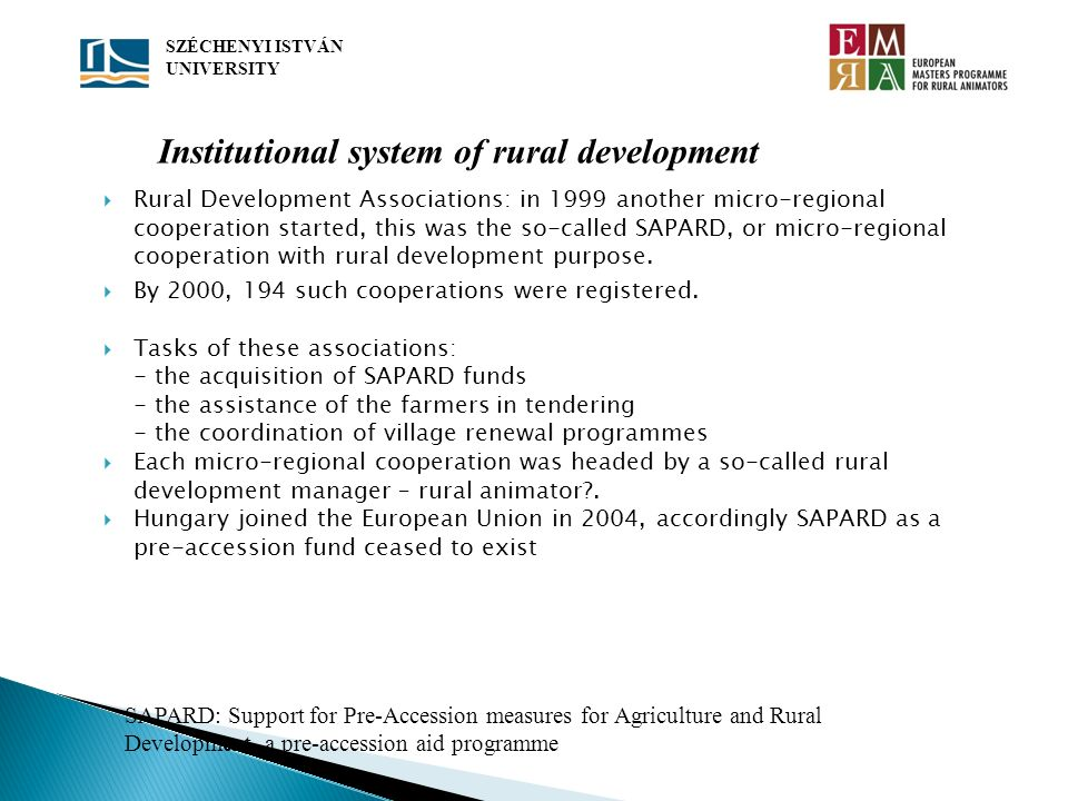 Institutional system of rural development