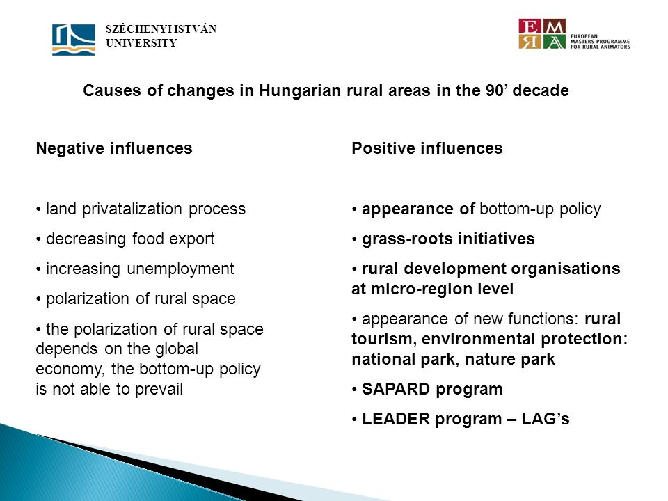 Causes of changes in Hungarian rural areas in the 90' decade