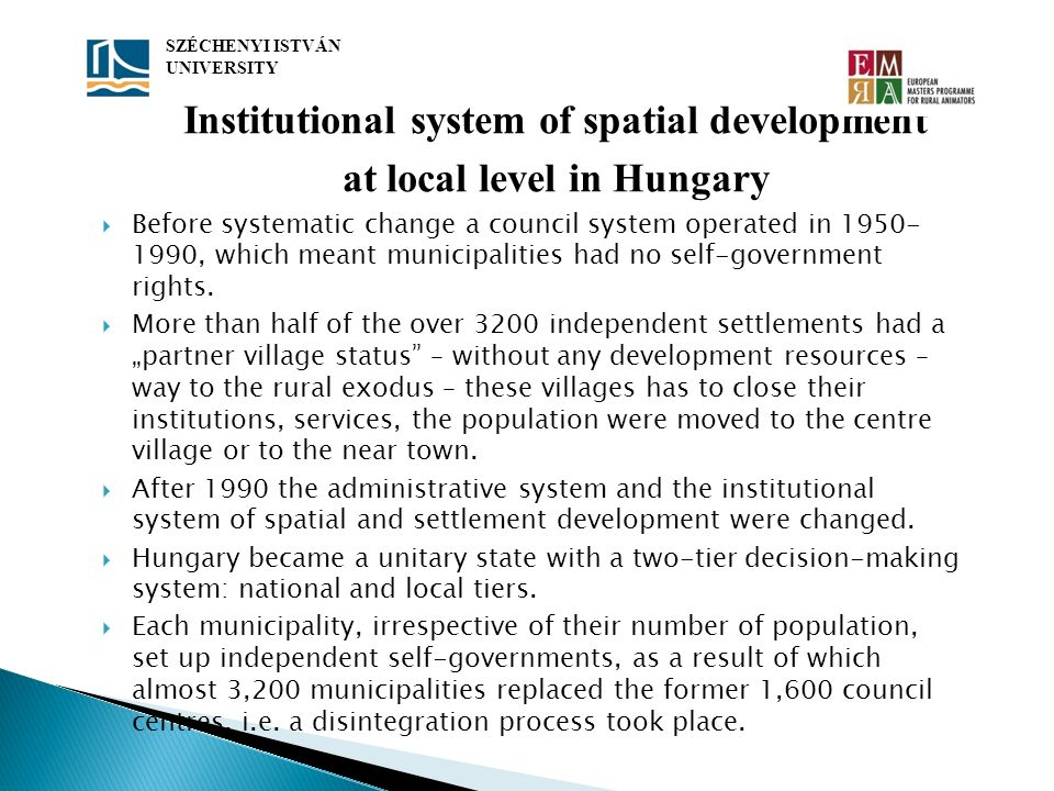 Institutional system of spatial development at local level in Hungary