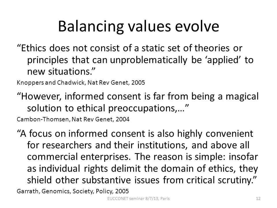 Balancing values evolve