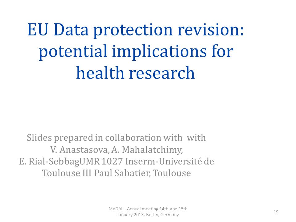 EU Data protection revision: potential implications for health research