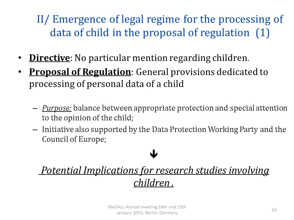 II/ Emergence of legal regime for the processing of data of child in the proposal of regulation (1)
