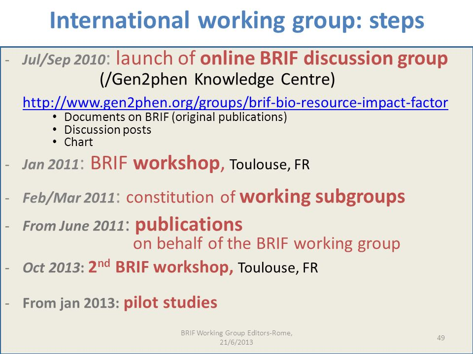 International working group: steps