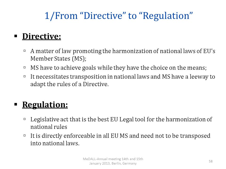 1/From Directive to Regulation