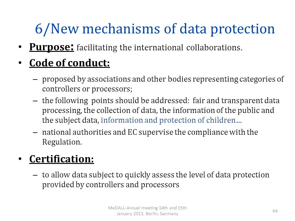 6/New mechanisms of data protection