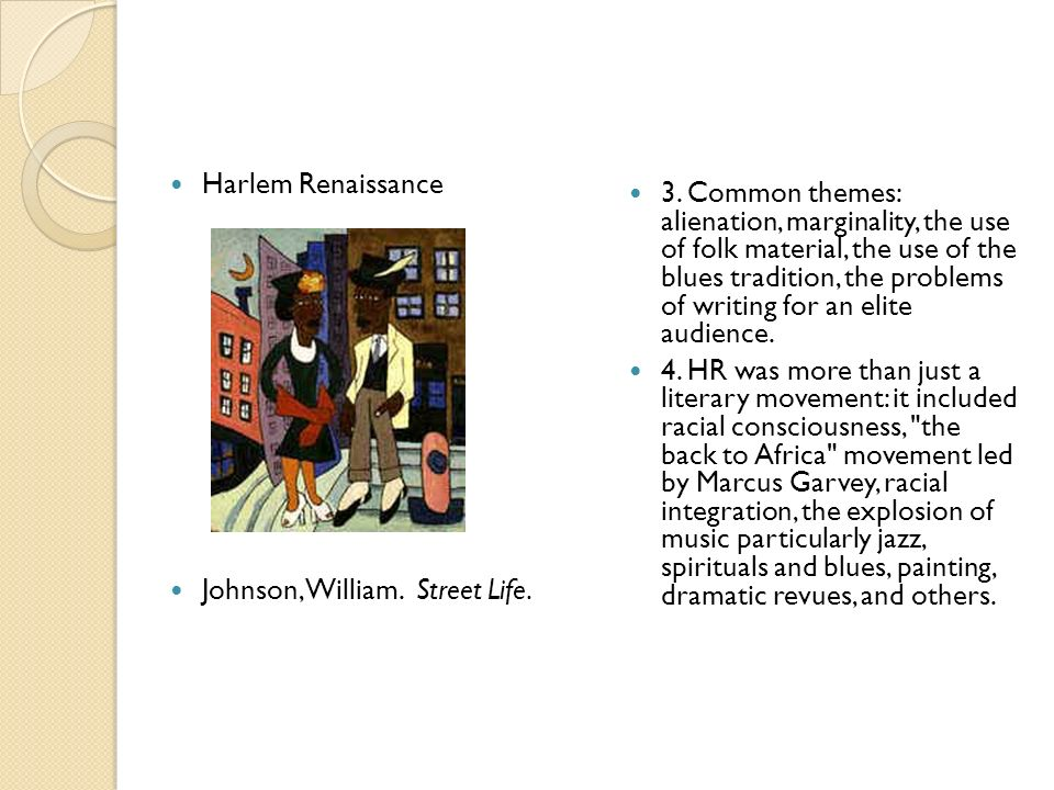 Harlem Renaissance Johnson, William. Street Life.