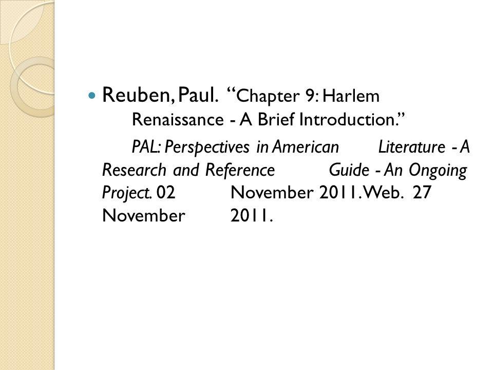 Reuben, Paul. Chapter 9: Harlem Renaissance - A Brief Introduction.''