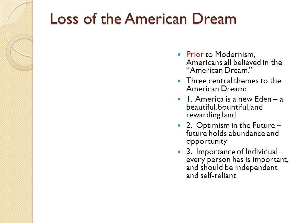 Loss of the American Dream