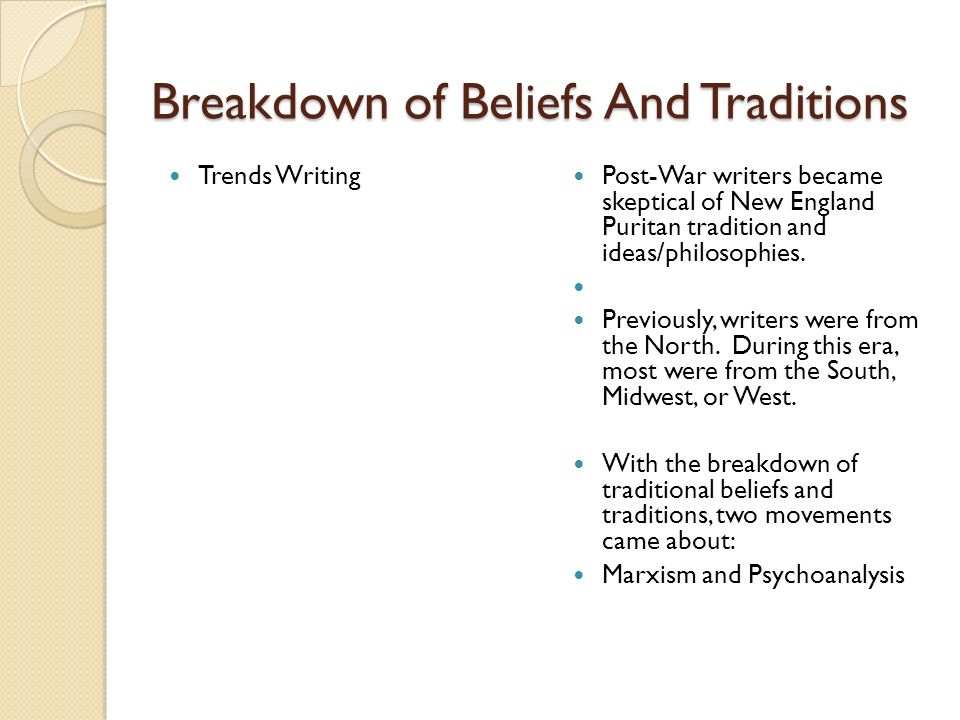 Breakdown of Beliefs And Traditions