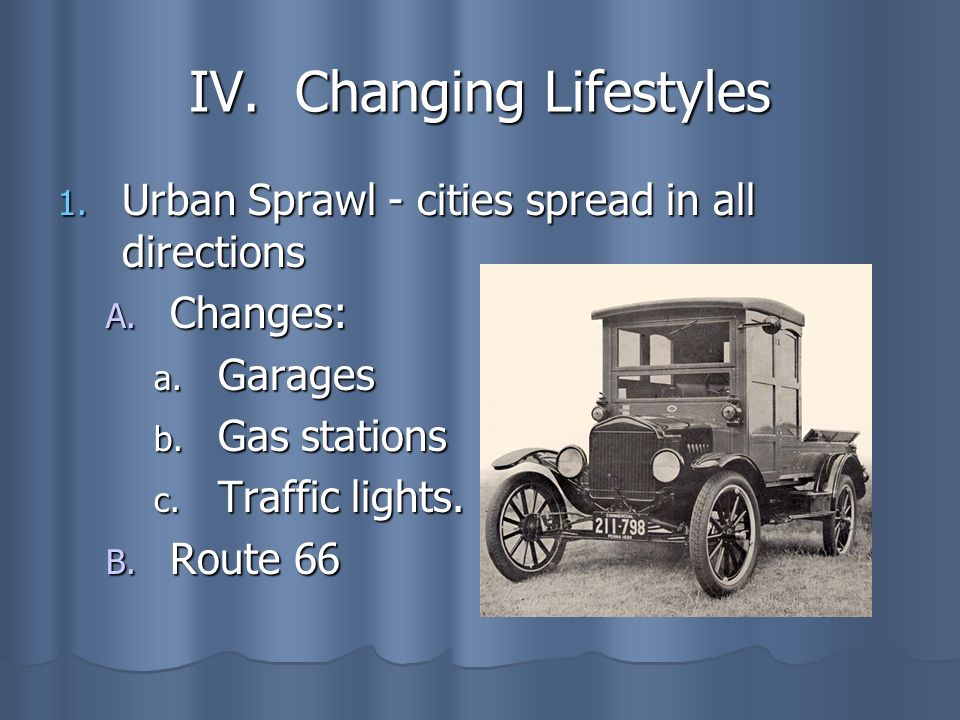 IV. Changing Lifestyles
