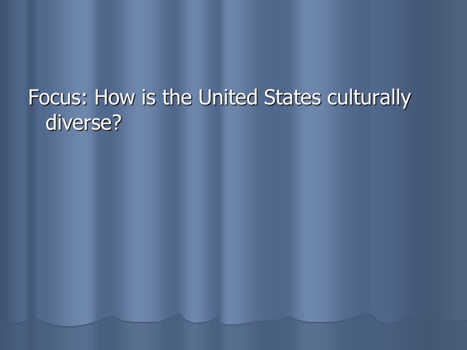 Focus: How is the United States culturally diverse
