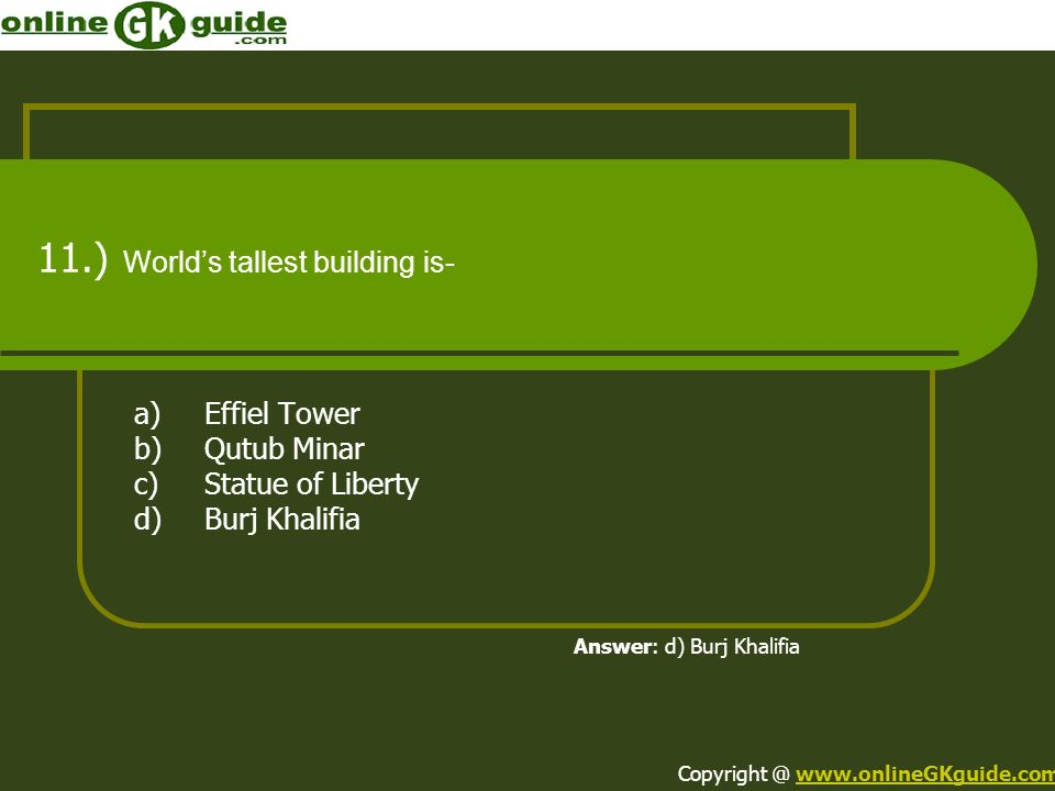 11.) World's tallest building is-