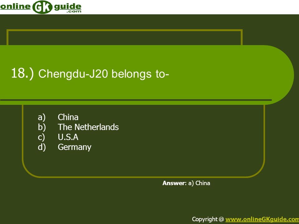 18.) Chengdu-J20 belongs to-