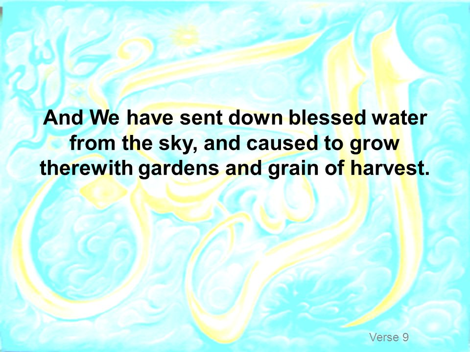 And We have sent down blessed water from the sky, and caused to grow therewith gardens and grain of harvest.