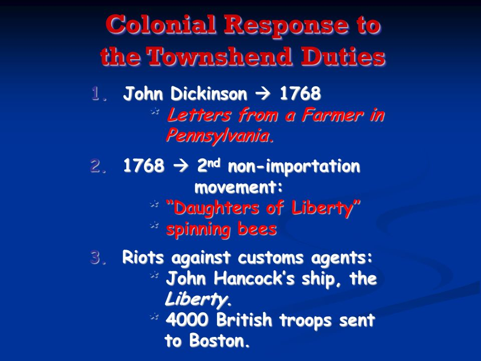 Colonial Response to the Townshend Duties