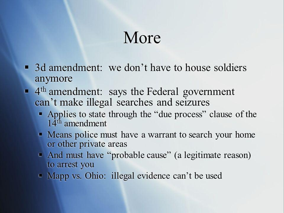 More 3d amendment: we don't have to house soldiers anymore