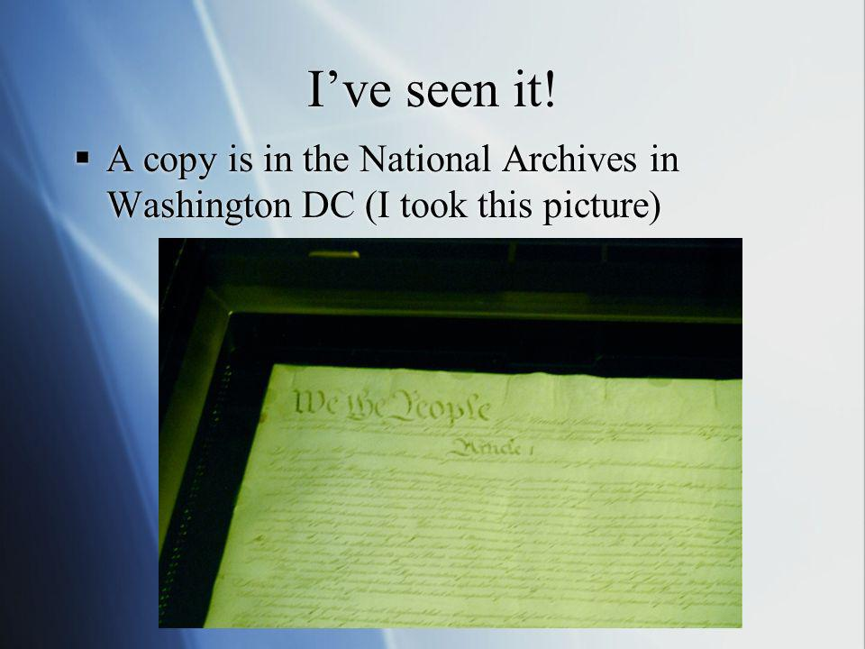 I've seen it! A copy is in the National Archives in Washington DC (I took this picture)