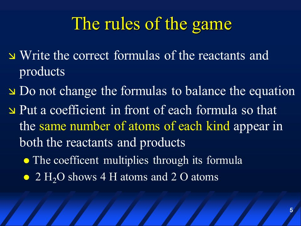 The rules of the game Write the correct formulas of the reactants and products. Do not change the formulas to balance the equation.