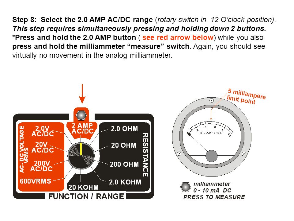 Step 8: Select the 2.0 AMP AC/DC range (rotary switch in 12 O'clock position).