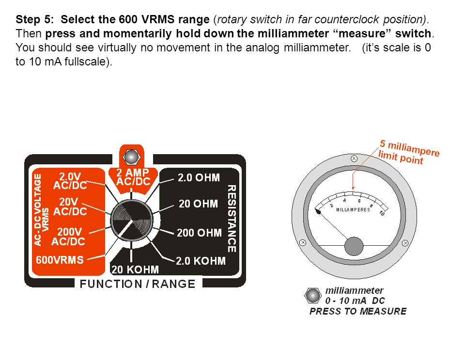 Step 5: Select the 600 VRMS range (rotary switch in far counterclock position).
