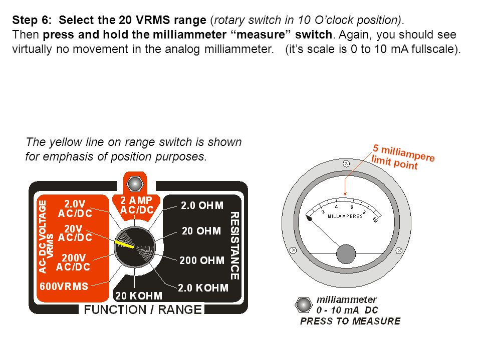 Step 6: Select the 20 VRMS range (rotary switch in 10 O'clock position).