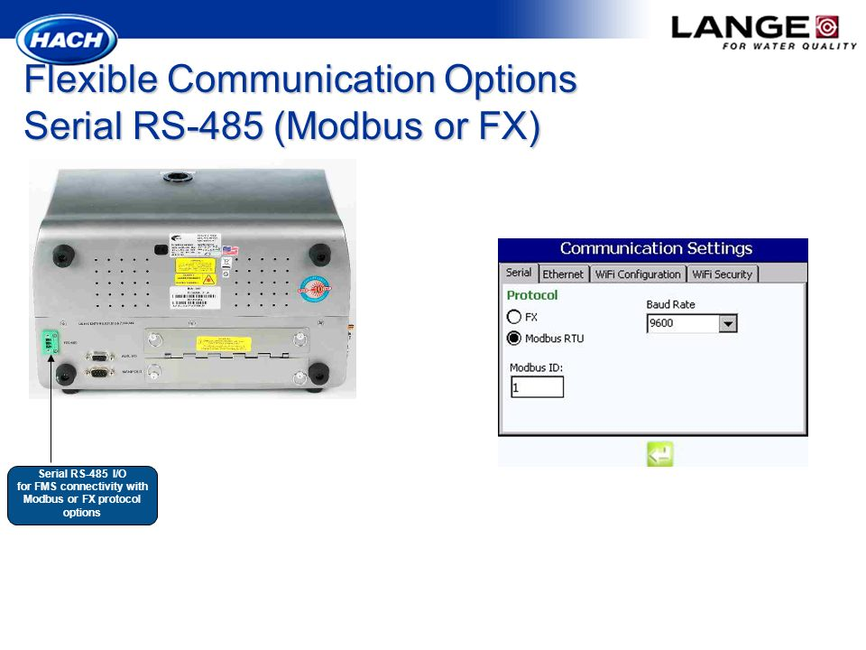 Flexible Communication Options Serial RS-485 (Modbus or FX)