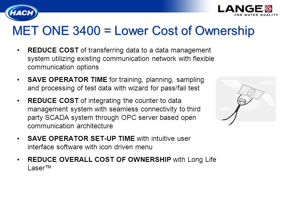 MET ONE 3400 = Lower Cost of Ownership
