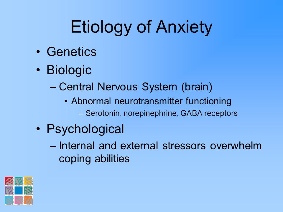 Etiology of Anxiety Genetics Biologic Psychological