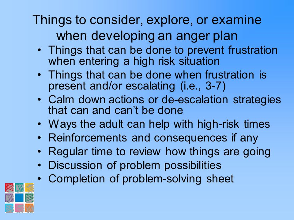 Things to consider, explore, or examine when developing an anger plan