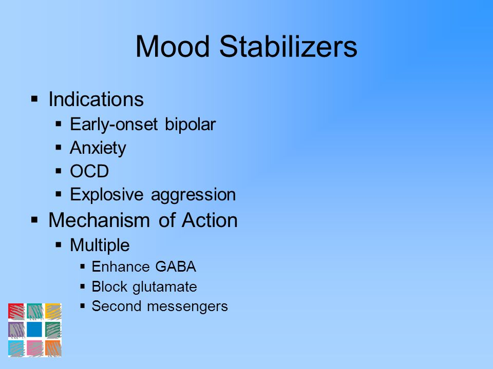 Mood Stabilizers Indications Mechanism of Action Early-onset bipolar