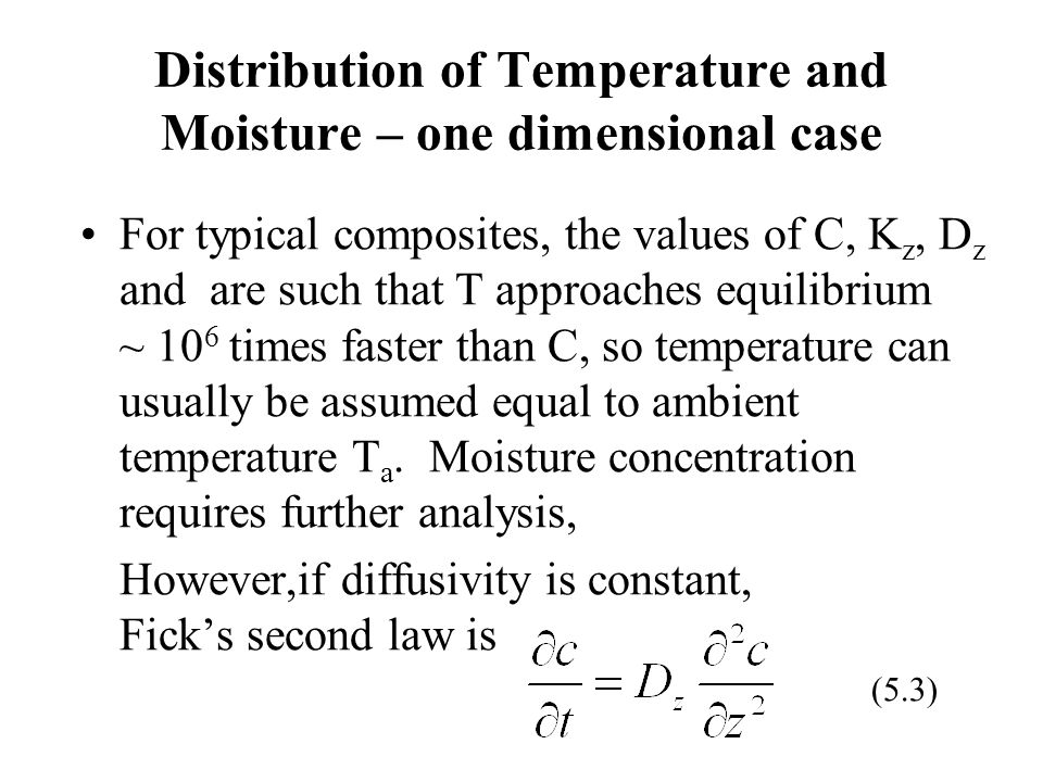 Distribution of Temperature and Moisture – one dimensional case