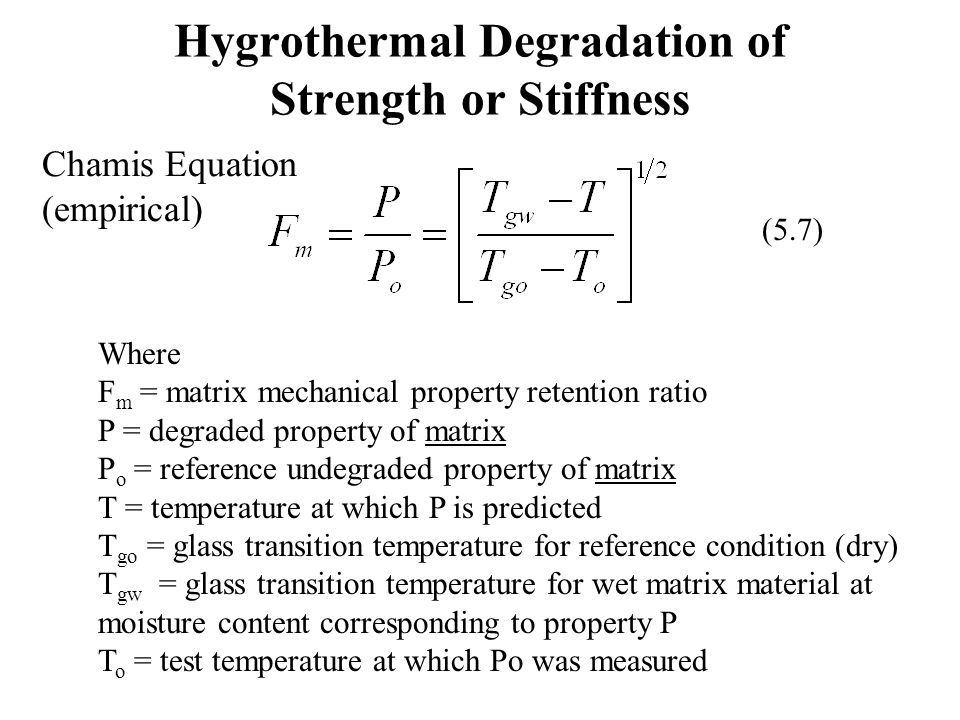 Hygrothermal Degradation of Strength or Stiffness