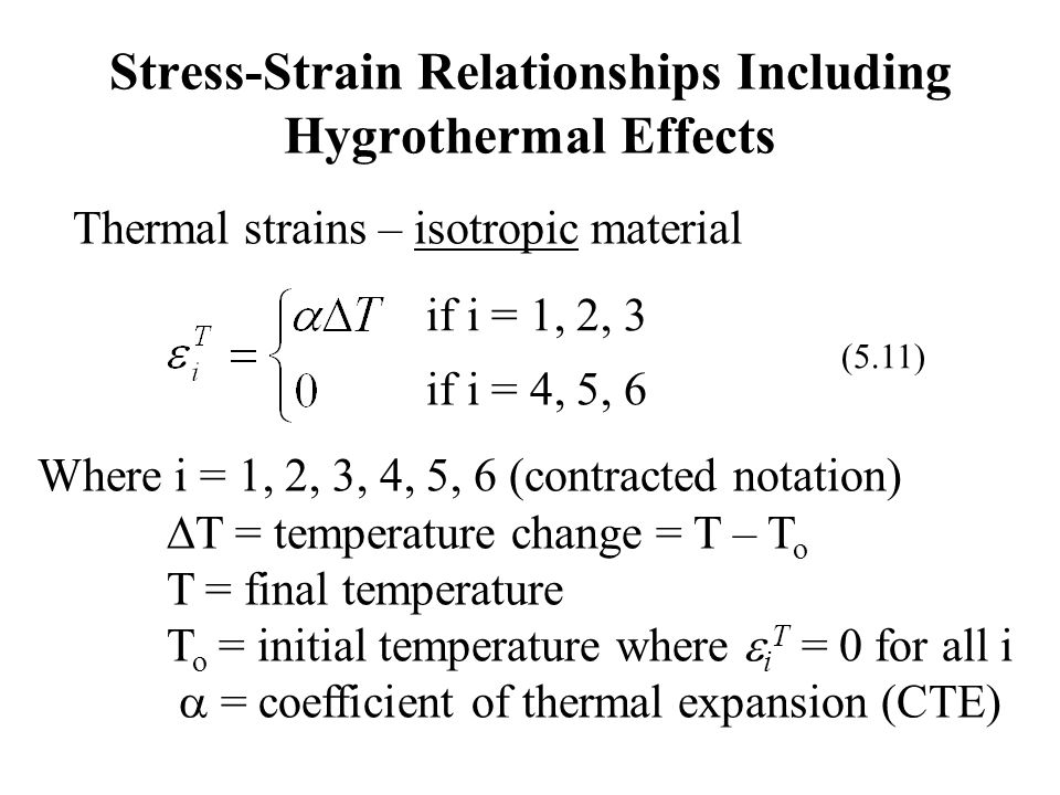 Stress-Strain Relationships Including Hygrothermal Effects