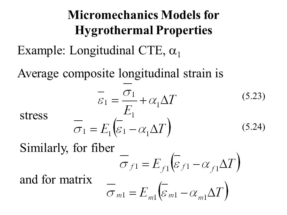 Micromechanics Models for Hygrothermal Properties