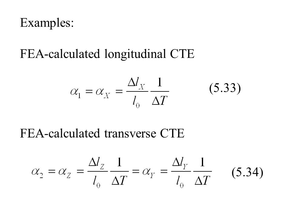 Examples: FEA-calculated longitudinal CTE
