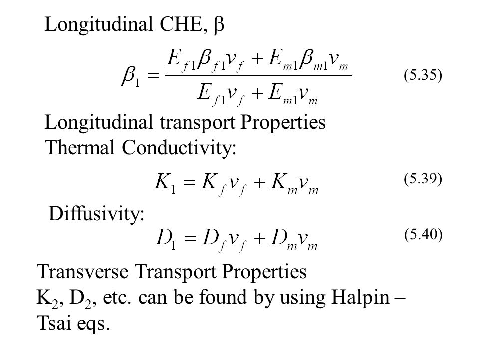 Longitudinal transport Properties Thermal Conductivity: