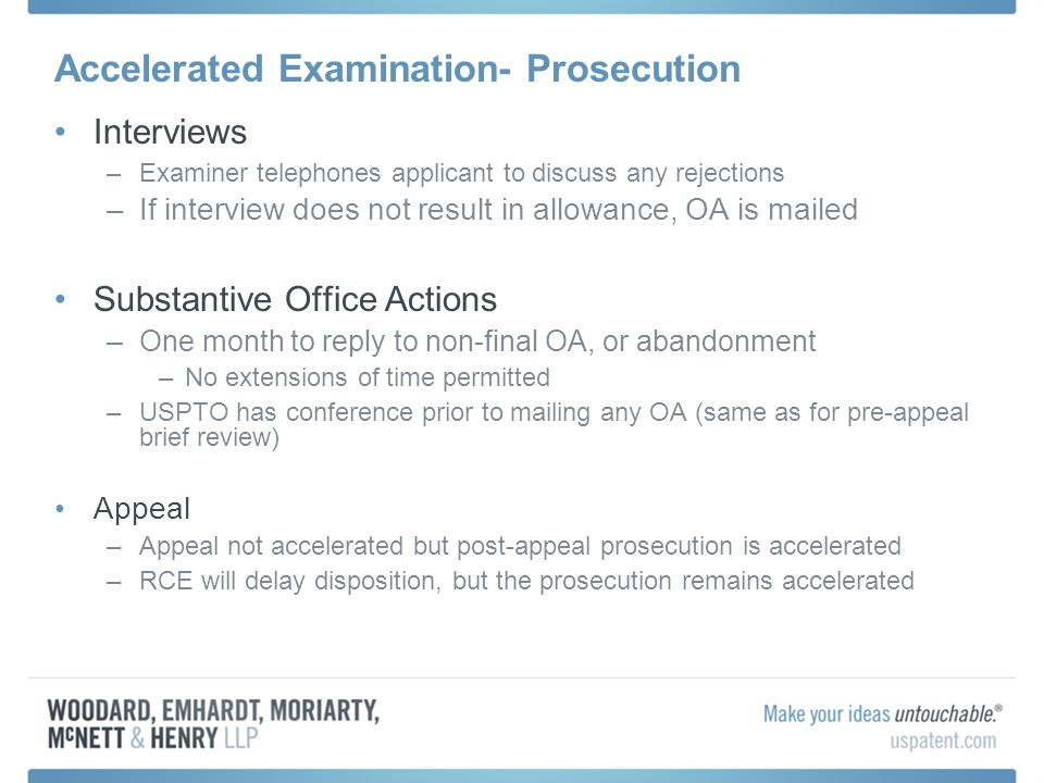 Accelerated Examination- Prosecution