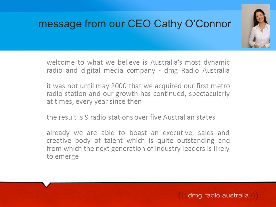 message from our CEO Cathy O'Connor