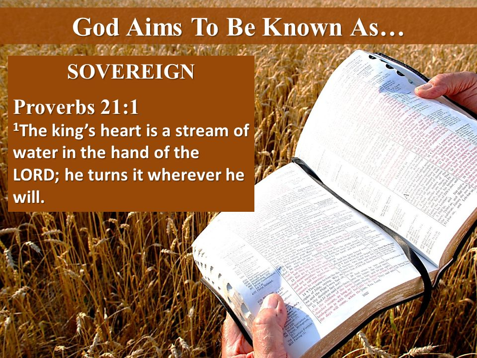 God Aims To Be Known As… SOVEREIGN Proverbs 21:1