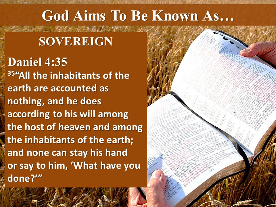 God Aims To Be Known As… SOVEREIGN Daniel 4:35