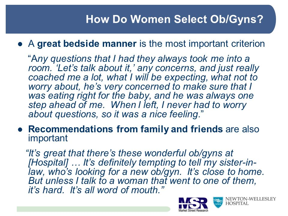How Do Women Select Ob/Gyns